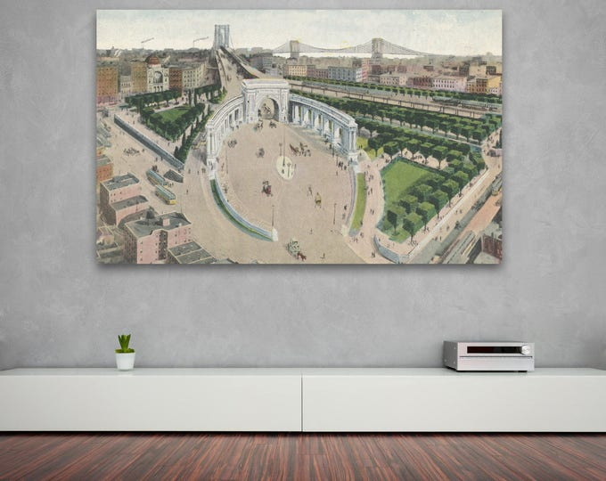 Antique Vintage Style Print of Manhattan Bridge Approach, New York City on Photo Paper, Matte Paper or Stretched Canvas