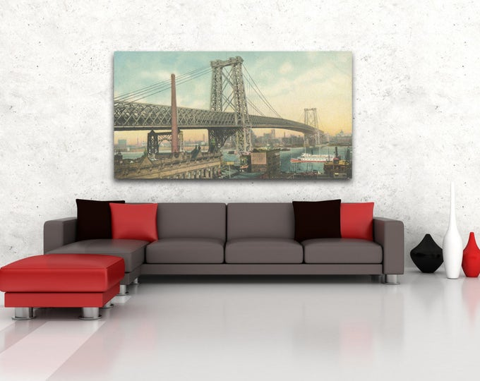 Antique Vintage Style Print of the Williamsburg Bridge on Matte Paper, Photo Paper or Stretched Canvas