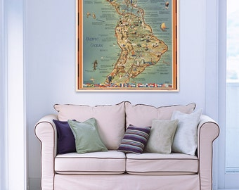 Vintage Antique Map of Routes of PAA Flying Clipper Ships  on Photo Paper Matte Paper Canvas Giclee