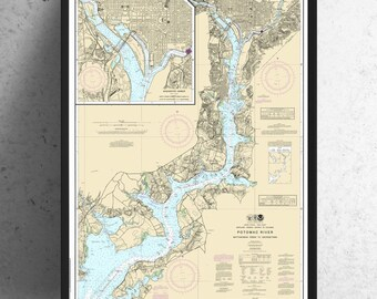 Vintage Antique Map of Potomac River Georgetown Print on Matte Paper, Photo Paper or Stretched Canvas