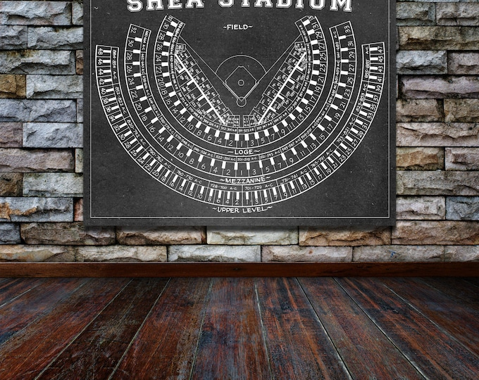 Print of Vintage Shea Stadium Seating Chart on Photo Paper, Matte paper or Canvas