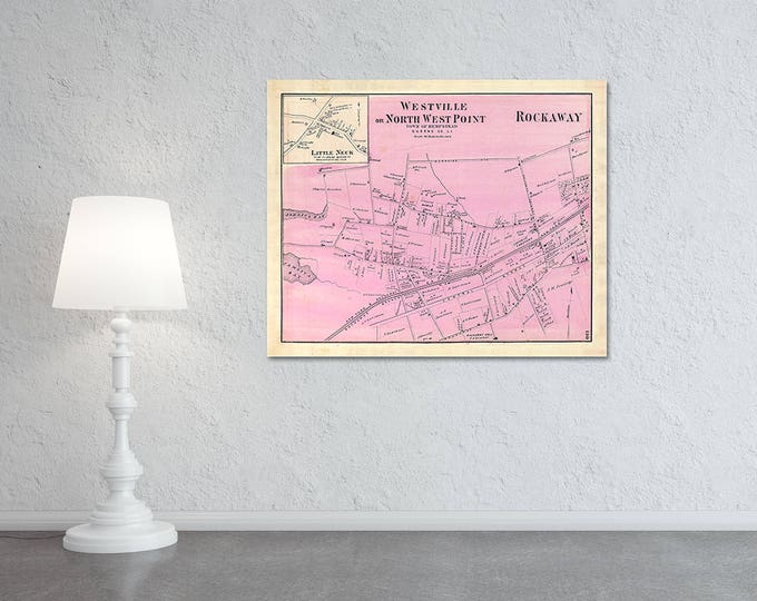 Print of Antique Rockaway Westville of Hempstead Long Island Map on Photo Paper Matte Paper or Stretched Canvas with Free Shipping