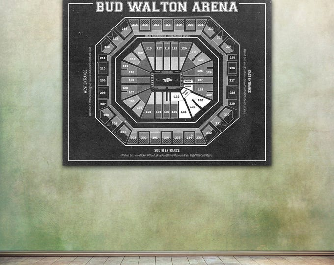 Vintage Print of Bud Walton Arena Seating Chart on Premium Photo Luster Paper Heavy Matte Paper, or Stretched Canvas. Free Shipping!