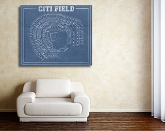 Print of Vintage Citi Field Seating Chart on Photo Paper, Matte paper or Canvas