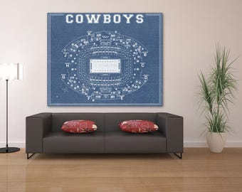 Print of Vintage Dallas Cowboys AT&T Stadium Seating Chart Seating Chart on Photo Paper, Matte paper or Canvas