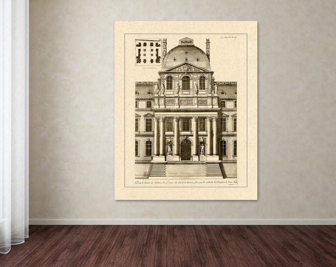 Antique Print of facade of The Louvre in Paris on your choice of color and Photo Paper, Matte Paper or Canvas Giclee.