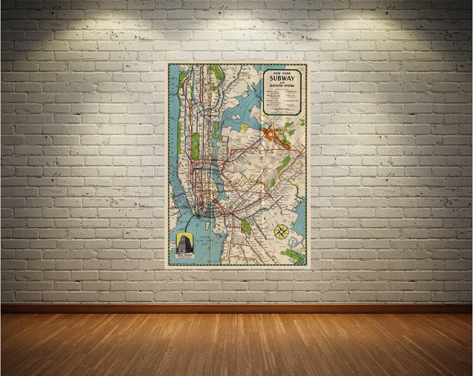 Vintage Style Print of New York City Subway Map on Premium Luster Photo Paper, Heavy Duty Matte Paper, or Stretched Canvas