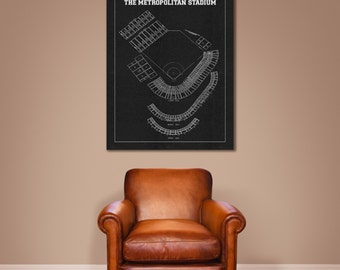 Vintage Style Print of Metropolitan Stadium on Photo Paper, Matte Paper, or Stretched Canvas