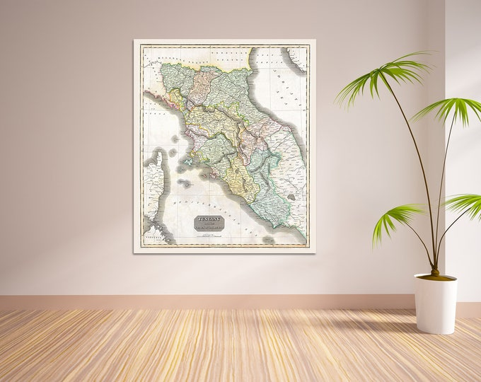 Print of Antique Map of Tuscany on Matte Paper, Photo Paper, or Stretched Canvas. Free Shipping
