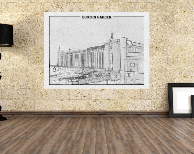 Print of Vintage Boston Garden Exterior View on Photo Paper, Matte or Canvas Bruins Celtics Sports Basketball Hockey Arena Photography Home