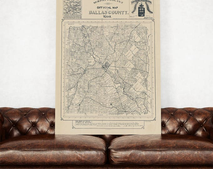 Print of Antique Dallas County Texas Map on Photo Paper Matte Paper or Stretched Canvas with Free Shipping