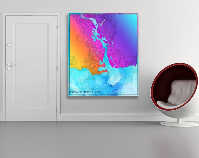 Artistic Print of Connecticut River Chart on your choice of Photo Paper, Matte Paper or Canvas Giclee