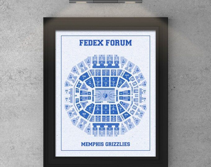 Vintage Print of Fedex Forum Seating Chart on Premium Photo Luster Paper Heavy Matte Paper, or Stretched Canvas. Free Shipping!