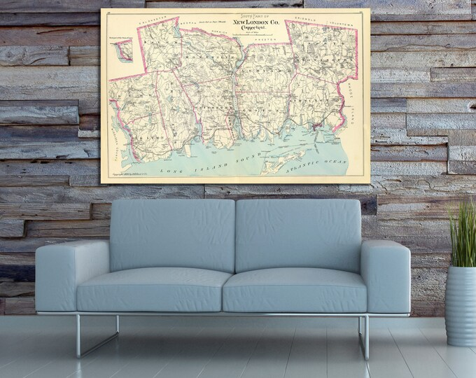 Print of Antique Map of New London County, Connecticut on Photo Paper, Matte Paper or Stretched Canvas