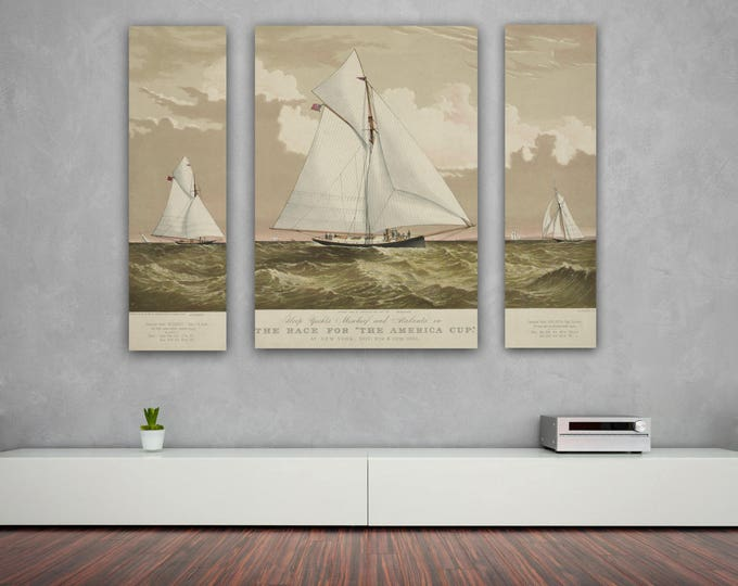Vintage Triptych 3 Panel Print of American Yacht Mischief on Matte Paper, Photo Paper or Stretch Canvas