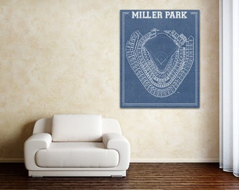 Print of Vintage Miller Park Seating Chart on Photo Paper, Matte paper or Canvas