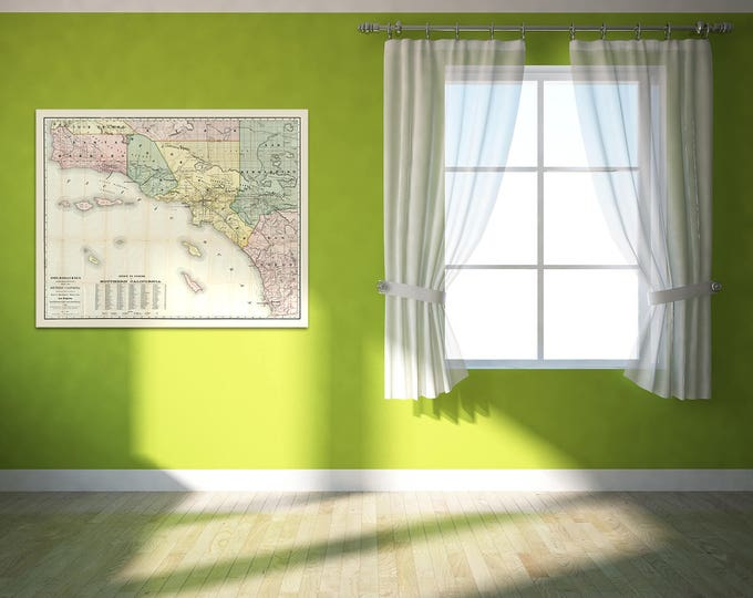 Print of Antique Map of Southern California on Matte Paper, Photo Paper, or Stretched Canvas. Free Shipping!