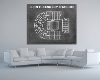 Print of Vintage John F. Kennedy Stadium Seating Chart Seating Chart on Photo Paper, Matte paper or Canvas