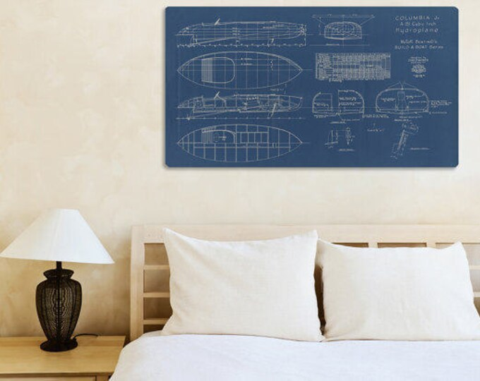 Print of Vintage COLUMBIA Boat Blueprint from Motor Boating's Build a Boat Series on Your Choice of Matte Paper, Photo Paper, or Canvas