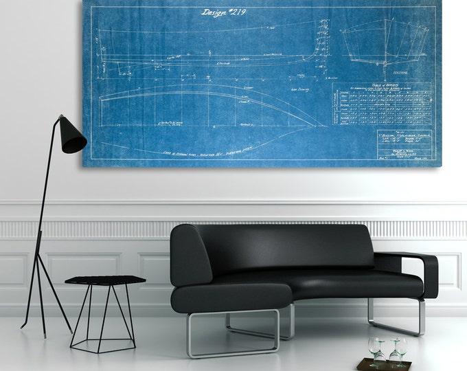 Vintage 1940 V Bottom Fisherman Boat Blueprint Design on CANVAS Rare Nautical Theme Wall Hanging Art Home Decor Ocean Line Drawing