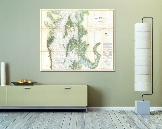 Detailed Vintage Chesapeake Bay Nautical Map Chart Print on Matte Paper, Photo Paper or Stretched Canvas