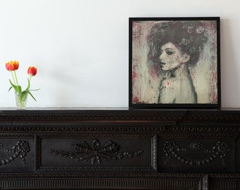 Stunning art print of a original painting printed on Photo Paper Matte Paper or Canvas woman abstract vintage style mix media ink modern