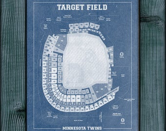 Print of Vintage Minnesota Twins Target Field Baseball Seating Chart on Photo Paper, Matte paper or Stretched Canvas