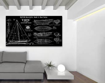 Print of Vintage ERIN Boat Blueprint from Motor Boating's Build a Boat Series on Your Choice of Matte Paper, Photo Paper, or Canvas