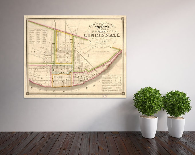 Print of Antique Map of Cincinnati Ohio on Photo Paper, Matte Paper or Stretched Canvas