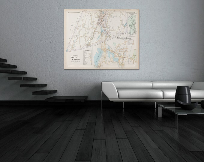 Print of Antique Map of Attleboro Falls Massachusetts  on Photo Paper, Matte Paper and Stretched Canvas
