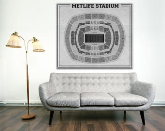 Print of Vintage Metlife  Stadium Seating Chart Seating Chart on Photo Paper, Matte paper or Canvas