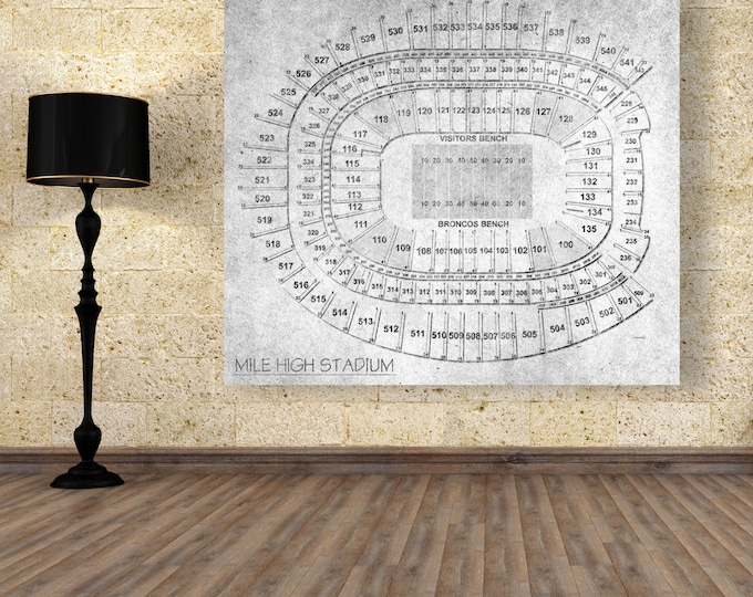 Vintage Style Print of Mile High Stadium Seating Chart on Photo Paper, Matte Paper, or Stretched Canvas