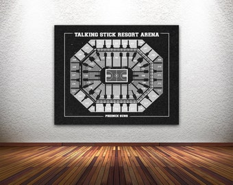 Vintage Print of Talking Stick Resort Arena Seating Chart on Premium Photo Luster Paper Heavy Matte Paper, or Stretched Canvas.