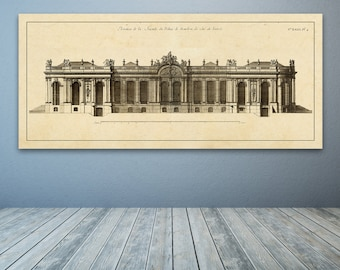 Print of Vintage Elevation Plan of the Palais de Bourbon in Paris, France