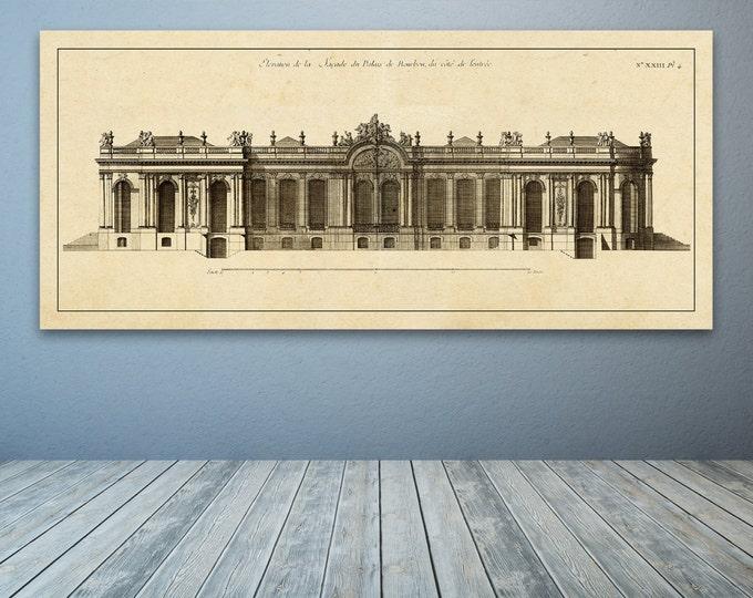 Print of Vintage Elevation Plan of the Palais de Bourbon in Paris, France