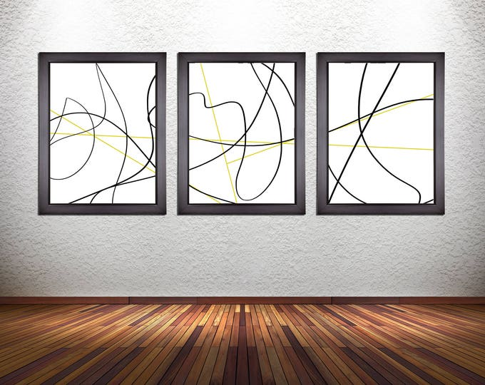 Set of 3 Abstract Line Art Prints on Photo Paper, Canvas, or 300 GSM Heavy Matte Paper