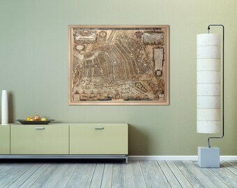 Print of Antique Map of Amsterdam on Photo Luster Paper Matte Paper or Stretched Canvas with Free Shipping