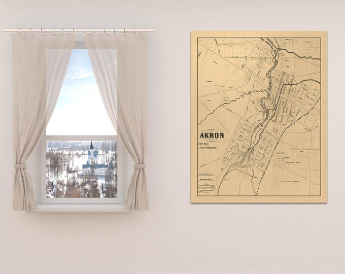 Print of Vintage Akron Ohio Map on Photo Paper Matte Paper and Canvas. Free Shipping!