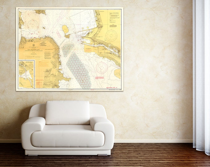 Print of Antique San Francisco Bay Nautical Chart on Photo Paper, Matte Paper, or Stretched Canvas