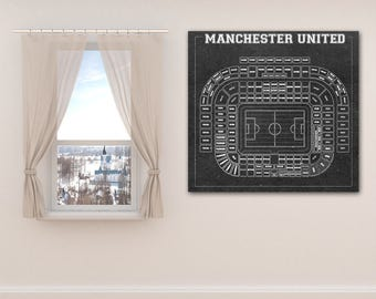 Print of Vintage Manchester United Seating Chart Seating Chart on Photo Paper, Matte paper or Canvas