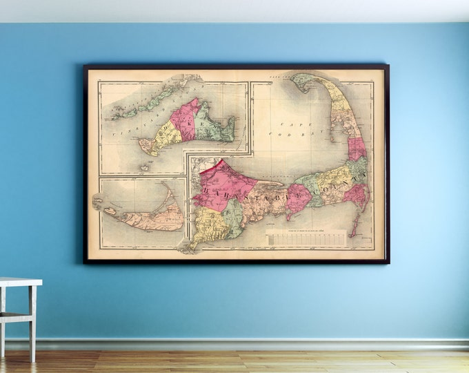 Print of Antique Map of Barnstable County, Cape Cod and The Islands on Photo Paper Matte Paper or Stretched Canvas