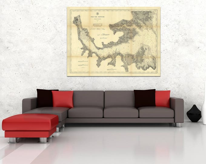 Print of Antique Map of North Carolina Neuse River on Matte Paper, Photo Paper, or Stretched Canvas. Free Shipping!