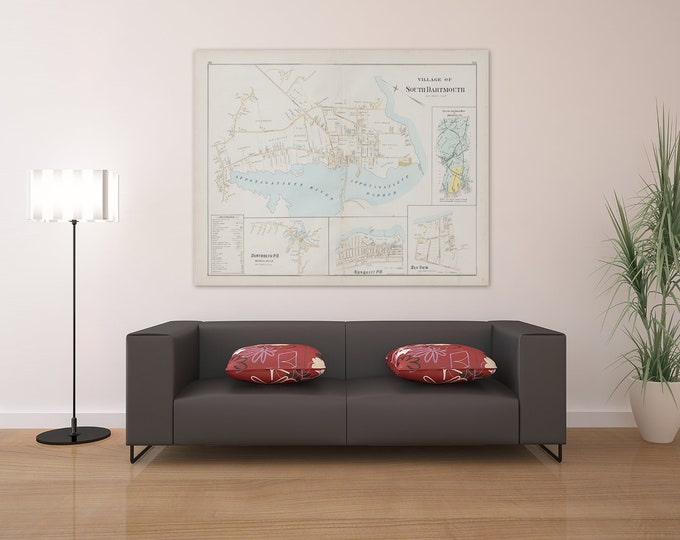 Print of Antique Map of Village of South Dartmouth Massachusetts  on Photo Paper, Matte Paper and Stretched Canvas