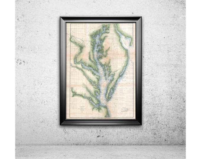 Antique map of Chesapeake Bay Maryland on Your Choice of Matte Paper, Photo Paper, Stretched Canvas