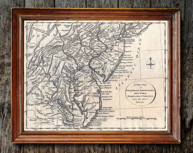 Print of Vintage New York, Pennsylvania, New Jersey, Maryland, and Virginia Map on Photo Paper, Matte Paper, or Stretched Canvas