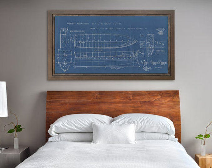 Print of Vintage WHIZ Boat Blueprint from Motor Boating's Build a Boat Series on Your Choice of Matte Paper, Photo Paper, or Canvas