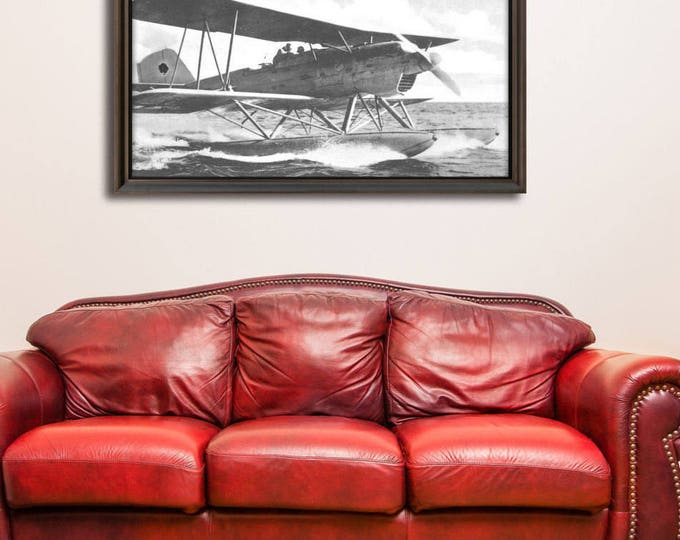 Print of Vintage Style Antique Airplane on Photo Paper, Matte Paper or Stretched Canvas military aviation plane flight pilot