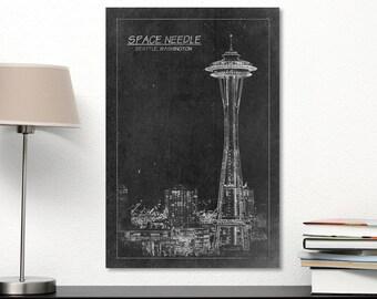 Space Needle Tower Blueprint Print on Canvas Seattle Washington City Black & White Landscape Famous Building Futurist Architecture Cityscape