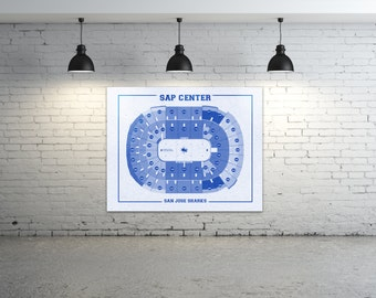 Vintage San Jose Sharks SAP Center on Photo Paper, Matte paper or Canvas Sports Stadium Tickets Art Home Decor Line Drawing