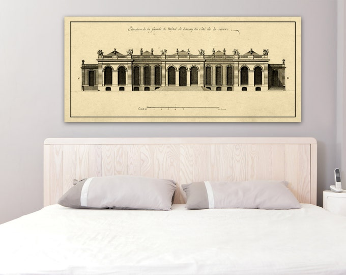 Print of Vintage Elevation Plan of the Hôtel de Lassay in Paris, France